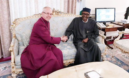 Buhari receives Archbishop of Canterbury Justin Welby at Abuja House in London, August 2017.