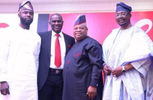 L-R: Hon. Saheed Fijabi, Chairman, House Committee on Communications, National Assembly Abuja; Segun Ogunsanya, MD & CEO, Airtel Nigeria; Ademola Adeleke, Senator representing Osun West, Osun State and Senator Olabiyi Durojaiye, Chairman, Nigeria Communication Commission (NCC) at the launch of Airtel 4G in Ibadan on Tuesday, 13th February, 2018.