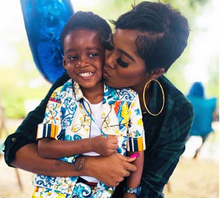Image result for tiwa savage and son""