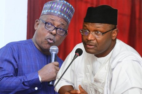 Prince Uche Secondus and Chairman of the Independent National Electoral Commission, INEC, Prof. Mahmood Yakubu