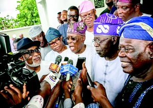 Asiwaju Bola Tinubu, Chief Segun Osoba, Chief Bisi Akande, Chief Pius Akinyelure, Gov Rotimi Akeredolu after the reconciliation meeting in Akure.