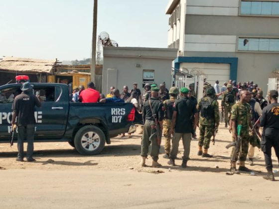 Police at the scene of Abuja First Bank, Mbape, robbery
