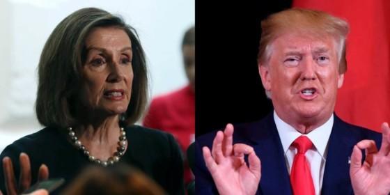 Donald Trump (Right) and Nancy Pelosi (Left) on Trump impeachment