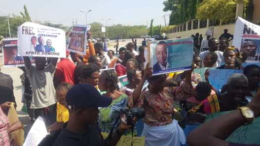 Women protesting the release of Omoyele Sowore