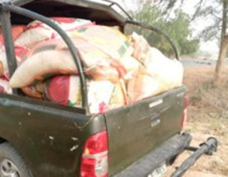 The vehicle intercepted with the 42 bags of foreign rice.