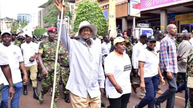 Uganda president sets off on six-day march through jungle