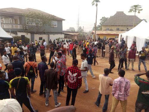 Crowd situation at Isiama Afaraukwu, Mazi Nnamdi Kanu's house in Umuahia