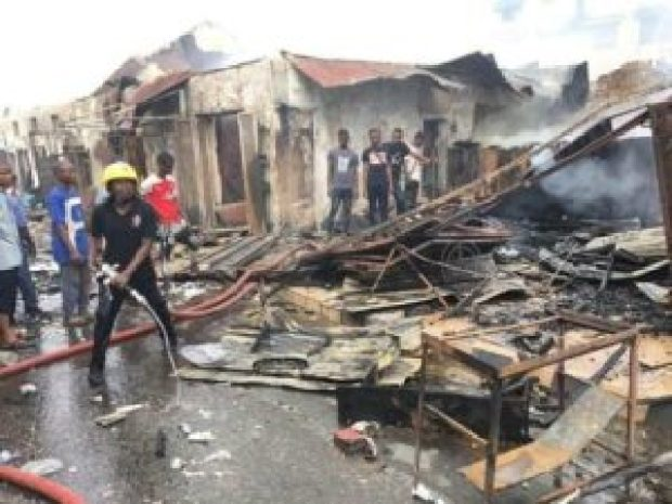 Aftermath of fire at Dugbe Alawo Market in Ibadan