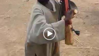 7-year-old boy who has been to Sambisa demonstrates gun handling, shooting strategies