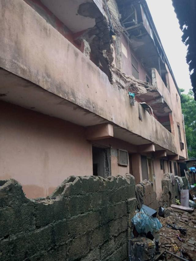 Scores escape death as two storey building collapses in Lagos