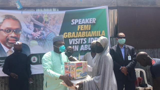 You've not been forgotten, Gbajabiamila tells Abuja IDPs, donates palliatives