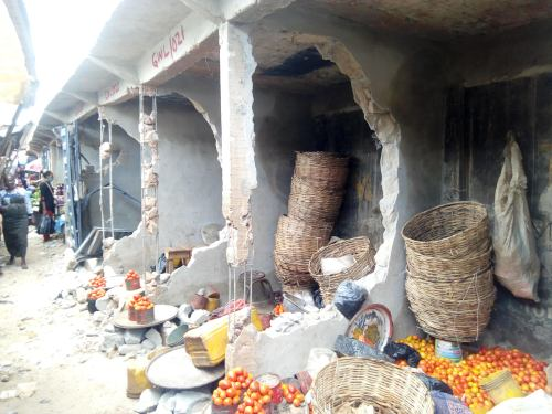 Aged women protest over allege forceful takeover of shops