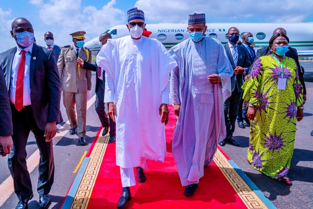 Photos of Buhari wearing face mask as he visits Mali for Peace Mission
