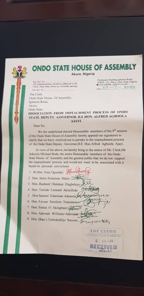 BREAKING: 9 lawmakers distance selves from Ondo dep gov impeachment