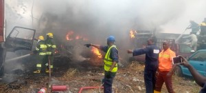 BREAKING: Fire guts 10 cars, trailer in LASTMA's office