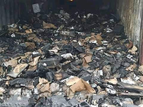 Pictures of the burnt card readers meant for Ondo governorship election at the INEC state office in Akure.