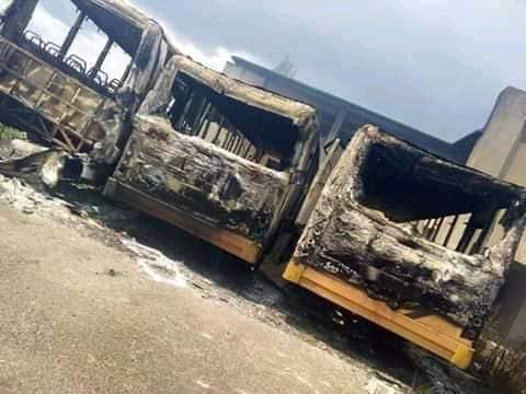 #EndSARS Protest in Ondo: Irate youths set school shuttle buses on fire