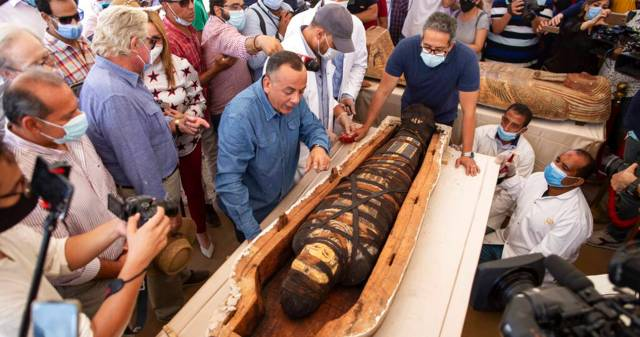 Egyptian archaeologists unearth 59 coffins buried 2,600 years ago