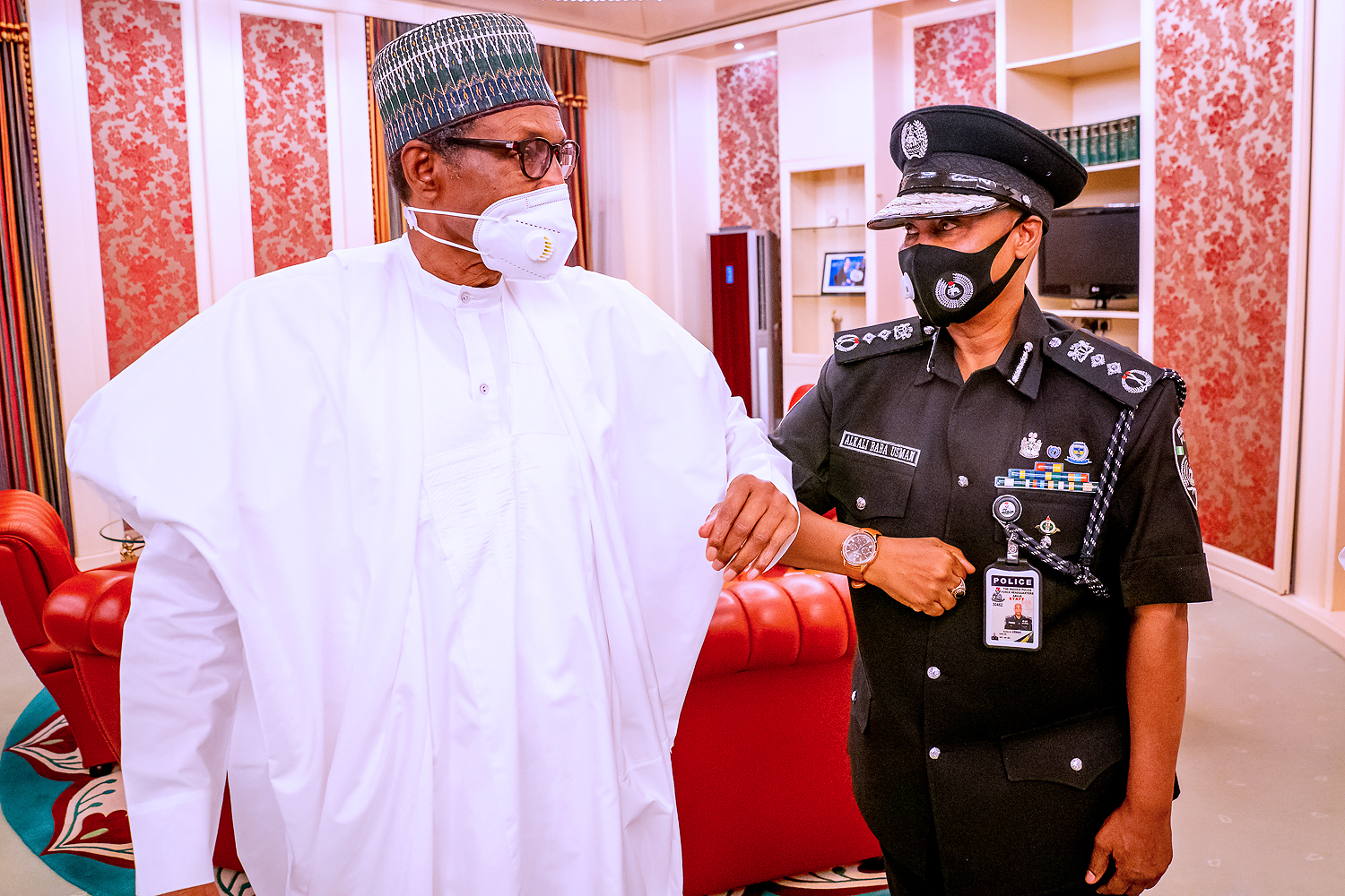 PHOTOS: Buhari receives acting IGP Usman Alkali Baba