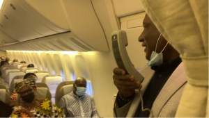 Excitement as Air Peace CEO, Allen Onyema, onboard as flight attendant in training