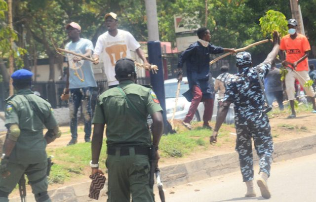 Pic 13 Armed thugs disrupt NLC protest in Kaduna