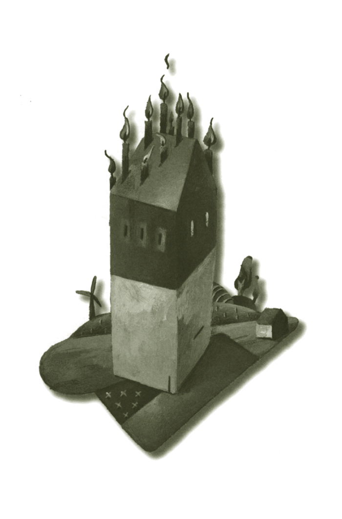 House with candles. Illustration for the urban development magazine T.R.O.S.