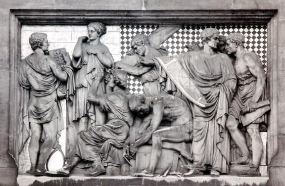 Reliëf van de bouw- en beeldhouwkunst aan de voorgevel van het Rijksmuseum te Amsterdam.