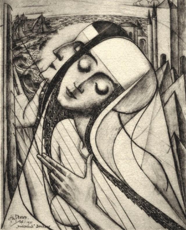 Jan Toorop, 'Gewijde en profane muziek' (1921); ontleend aan Hubar, De nieuwe Bavo te Haarlem 2016), p. 180 #KoepelKathedraal
