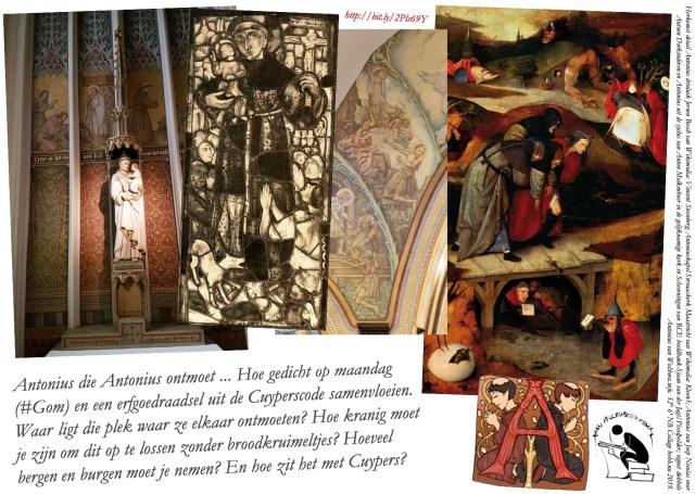 Antonius die Antonius ontmoet | Collage bvhh.nu 2019 met beeldmateriaal, zoals omschreven rechts op de afbeelding: van Wikimedia (Vincent Steenberg en Kleon3), RCE Beeldbank-Sjaan van der Jagt/Pixelpolder en Wolthera.info.