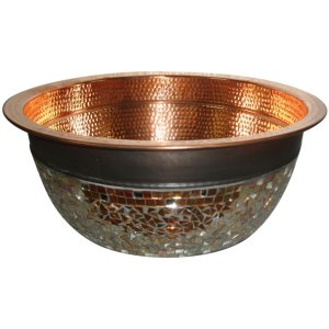 Copper Sink With Glass Mosaic Outside