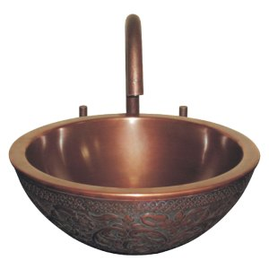 Copper Sink Double wall Embossing on outer wall