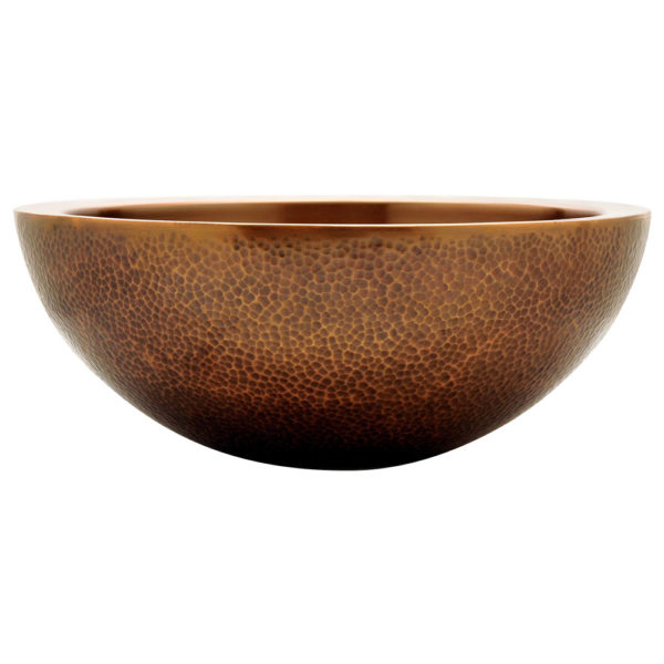 Double Walled Outside Hammered Copper Sink