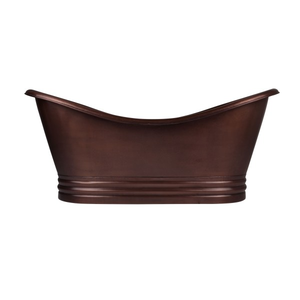 Hammered Dark Copper Double Slipper Tub