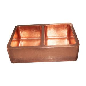 Double Bowl Copper Kitchen Sink Front Apron Hammered & Shining Finish