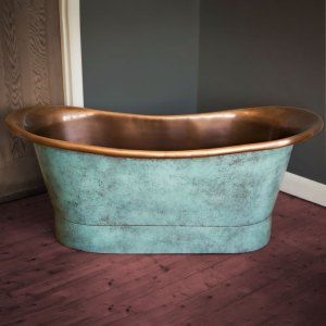 Copper Bathtub Copper Interior & Blue Green Patina Exterior Finish