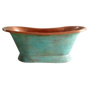 Slanting Base Copper Bathtub Copper Interior & Blue Green Patina Exterior Finish