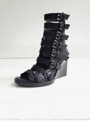 Ann Demeulemeester black buckle up wedges - runway 2010