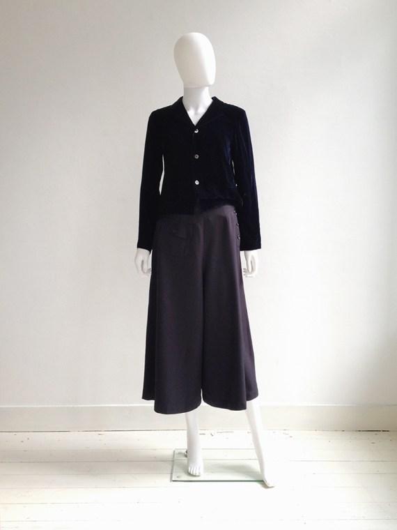 Comme des Garçons blue velvet blazer | Comme des Garçons blue wide ankle trousers | shop at vaniitas.com
