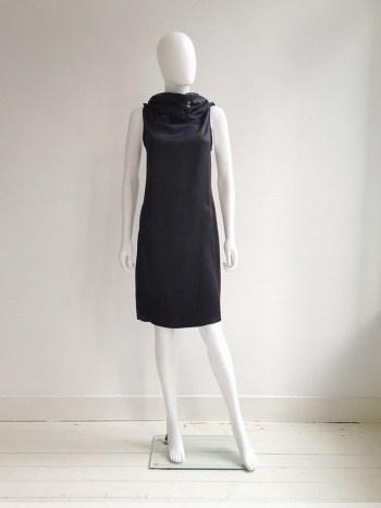 vintage Ann Demeulemeester black cowl neck dress with open back