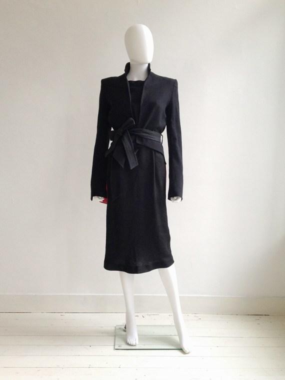 Tim Van Steenbergen black belted dress | Haider Ackermann black lapel blazer runway s/s 2011 | shop at vaniitas.com