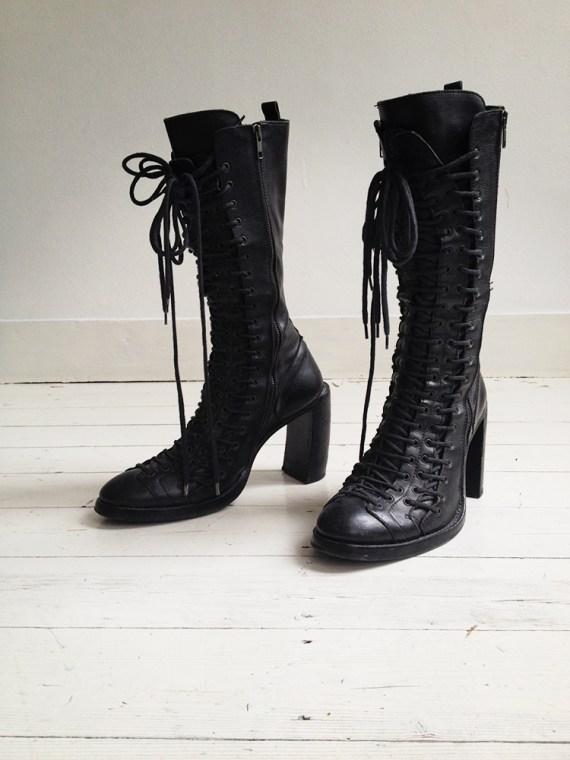 Ann Demeulemeester black triple lace boots - fall 2008 | shop at vaniitas.com