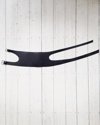 second hand Comme des Garçons black wide double buckle belt