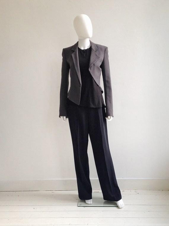 Haider Ackermann grey asymmetric blazer — spring 2008 | Nicolas Andreas Taralis black muscle tee | Maison Martin Margiela blue palazzo pants | shop at vaniitas.com