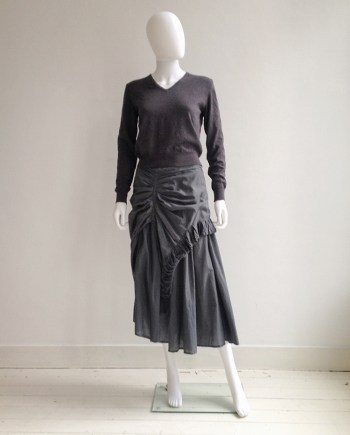 Maison Martin Margiela permanently creased sweater - fall 1990 | Dries Van Noten grey ruffled maxi skirt — spring 1999 | shop at vaniitas.com