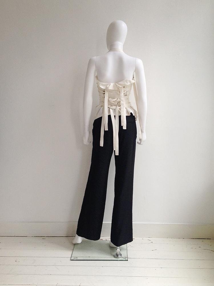 Ann Demeulemeester white bondage strap top — spring 2003   Ann Demeulemeester black wide trousers   shop at vaniitas.com