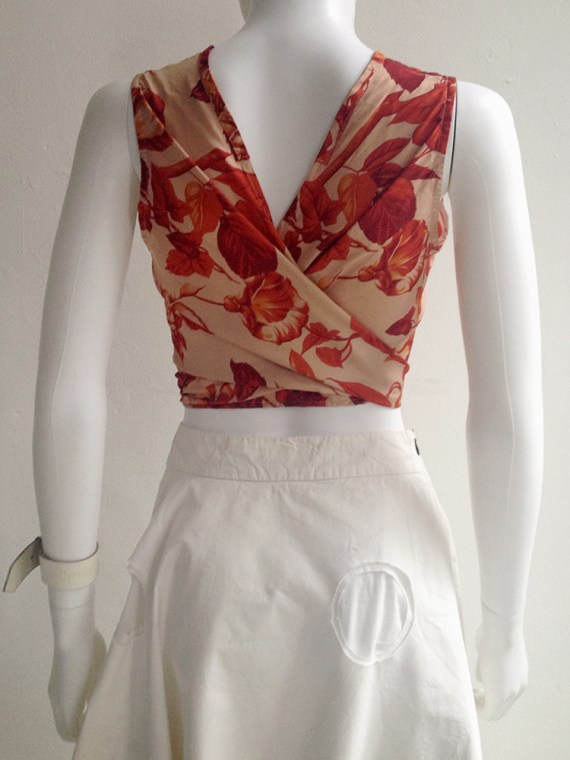 archive Dries Van Noten red floral wrap top — fall 1994