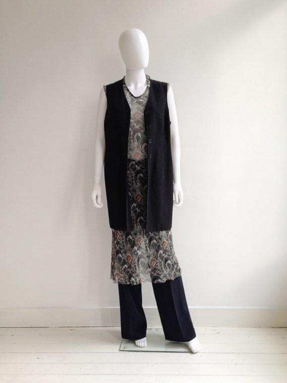 Dries Van Noten sheer dress — spring 1998   Maison Martin Margiela wide trousers   Dries Van Noten black long waistcoat  shop at vaniitas.com