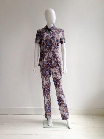 Dries Van Noten blue and white floral batik suit — fall 1997   shop at vaniitas.com