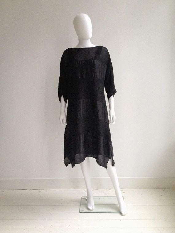 Issey Miyake Cauliflower black dress with sheer stripes | shop at vaniitas.com
