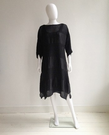 Issey Miyake Cauliflower black dress with sheer stripes | shop at vaniitas.com